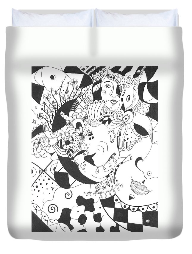 Playful Duvet Cover featuring the drawing Creatures And Features by Helena Tiainen