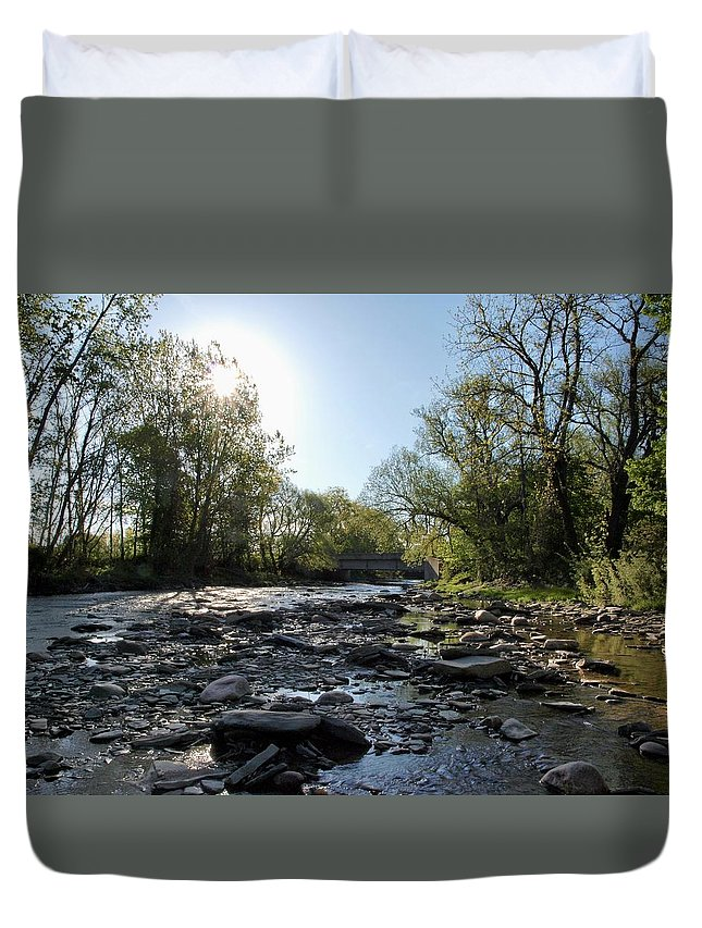 Water Duvet Cover featuring the photograph Creek And Bridge by Joy Leninsky