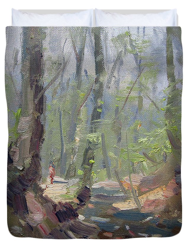 Creek Duvet Cover featuring the painting Creek At Lockport Natural Trail by Ylli Haruni