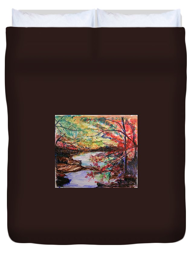 Creek Duvet Cover featuring the painting Creek Blue Ridge Mountains by Lizzy Forrester
