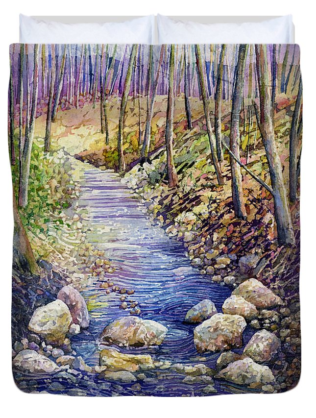 Creek Duvet Cover featuring the painting Creek Crossing by Hailey E Herrera