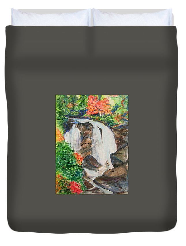 Creek Duvet Cover featuring the painting Creek In Autumn by Lizzy Forrester
