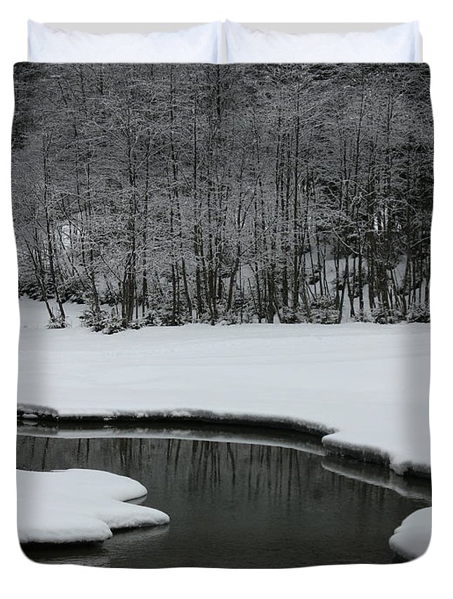 Creek Duvet Cover featuring the photograph Creek In Snowy Landscape by Christiane Schulze Art And Photography