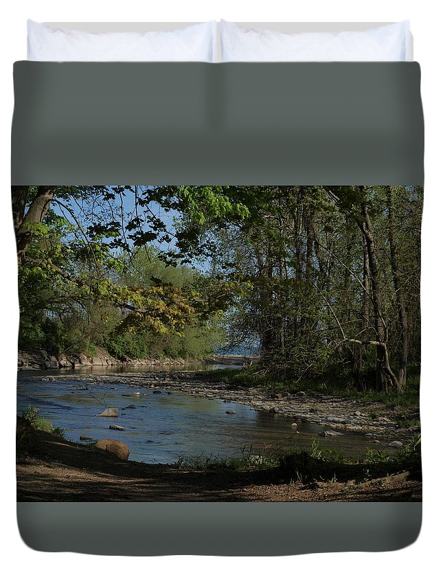 Water Duvet Cover featuring the photograph Creek To Lake by Joy Leninsky