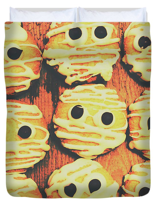 Sweet Duvet Cover featuring the photograph Creepy And Kooky Mummified Cookies by Jorgo Photography - Wall Art Gallery