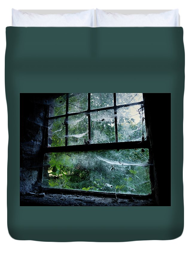 Creepy Duvet Cover featuring the photograph Creepy Old Window by Jarno Holappa