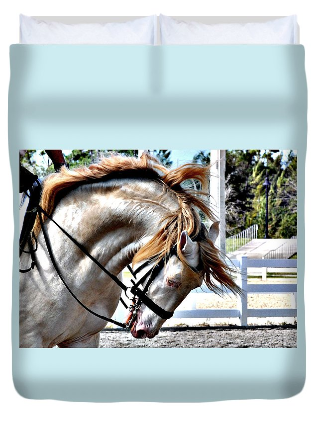 Horse Duvet Cover featuring the photograph Cremello by Perry Correll