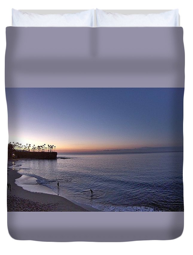 Sunrise Duvet Cover featuring the photograph Crescent Bay Sunrise by Alex Mansfield