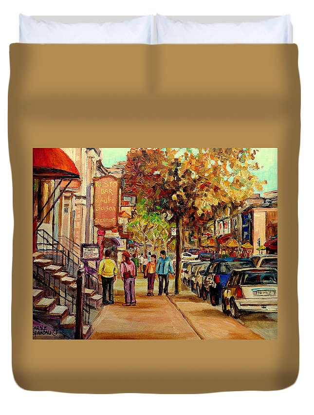 Montreal Streetscenes Duvet Cover featuring the painting Crescent Street Montreal by Carole Spandau
