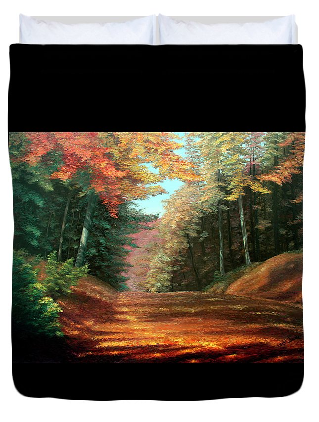 Autumn Woods Duvet Cover featuring the painting Cressman's Woods by Hanne Lore Koehler