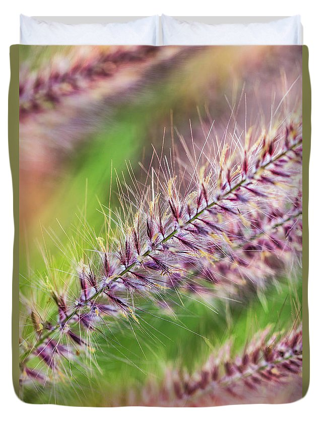Grass Duvet Cover featuring the photograph Crimson Fountaingrass Abstract by Akhyana