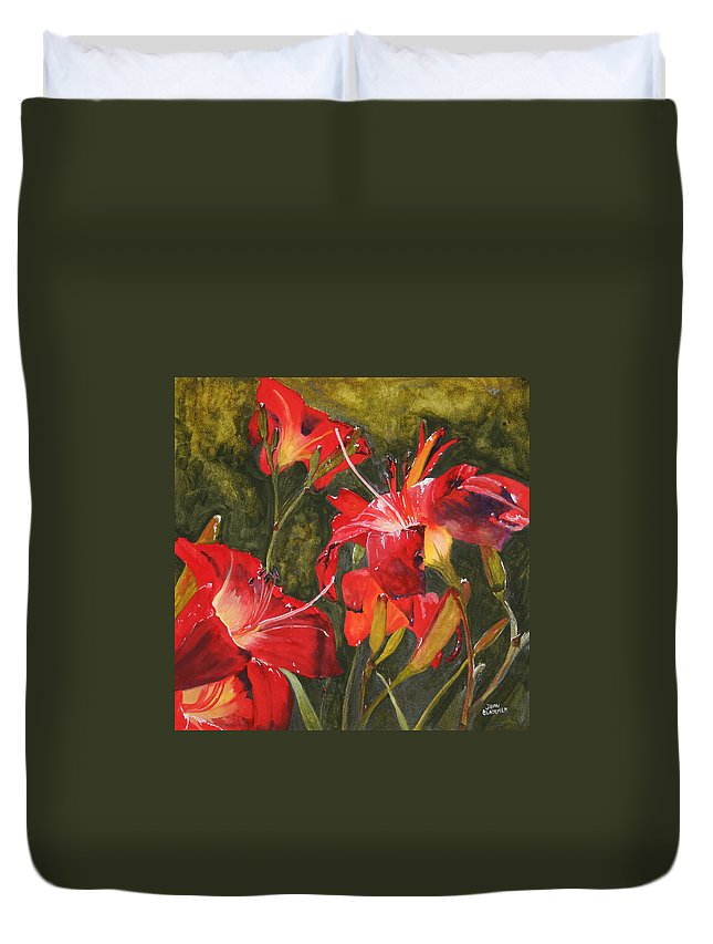 Red Duvet Cover featuring the painting Crimson Light by Jean Blackmer