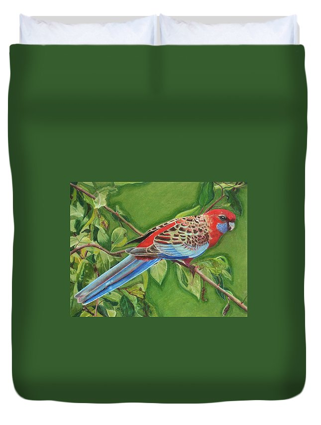 Red Duvet Cover featuring the drawing Crimson Rosella by Lori Hanks