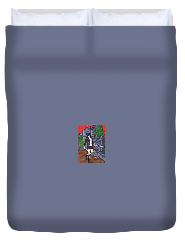 Vampire Duvet Cover featuring the painting Crimson Sky by Mary Beth Macleod