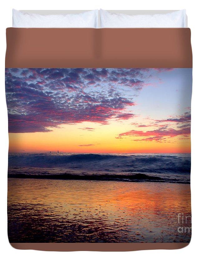 Grand Bend Duvet Cover featuring the photograph Crimson Wave Art 2 by John Scatcherd