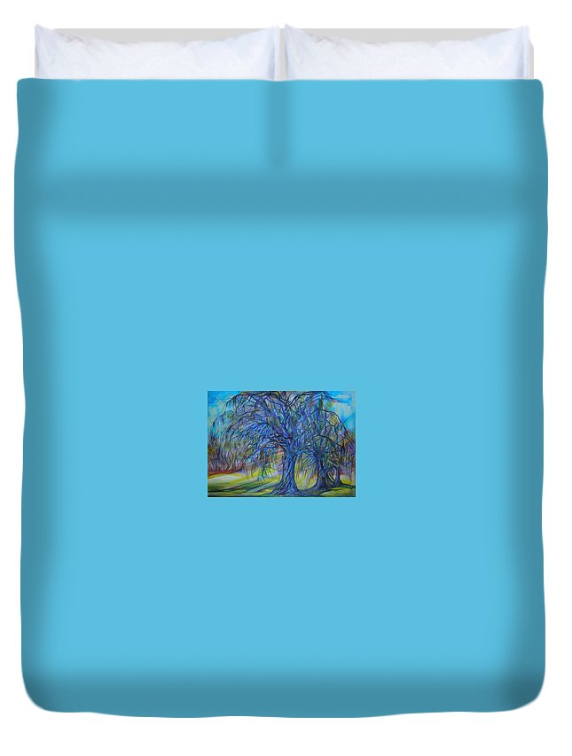 Blue Duvet Cover featuring the drawing Crystal Light by Anna Duyunova