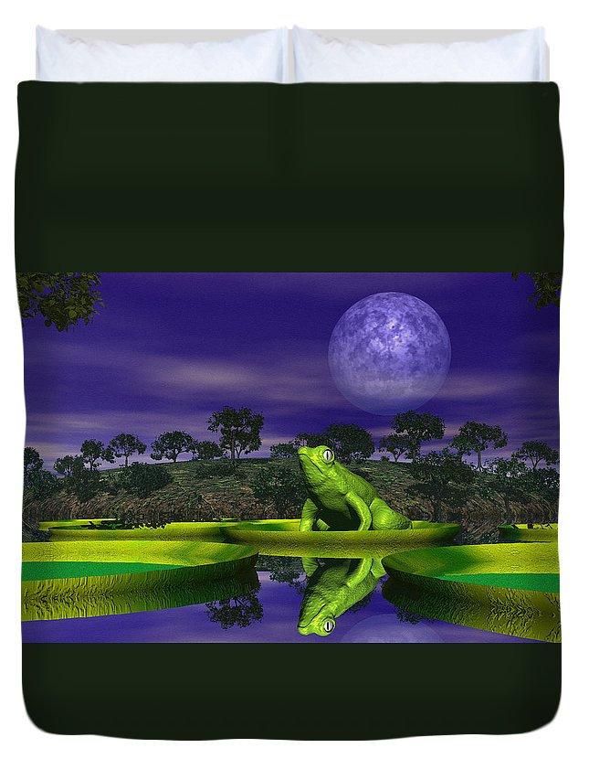 Frog Duvet Cover featuring the photograph Croak by Mark Blauhoefer
