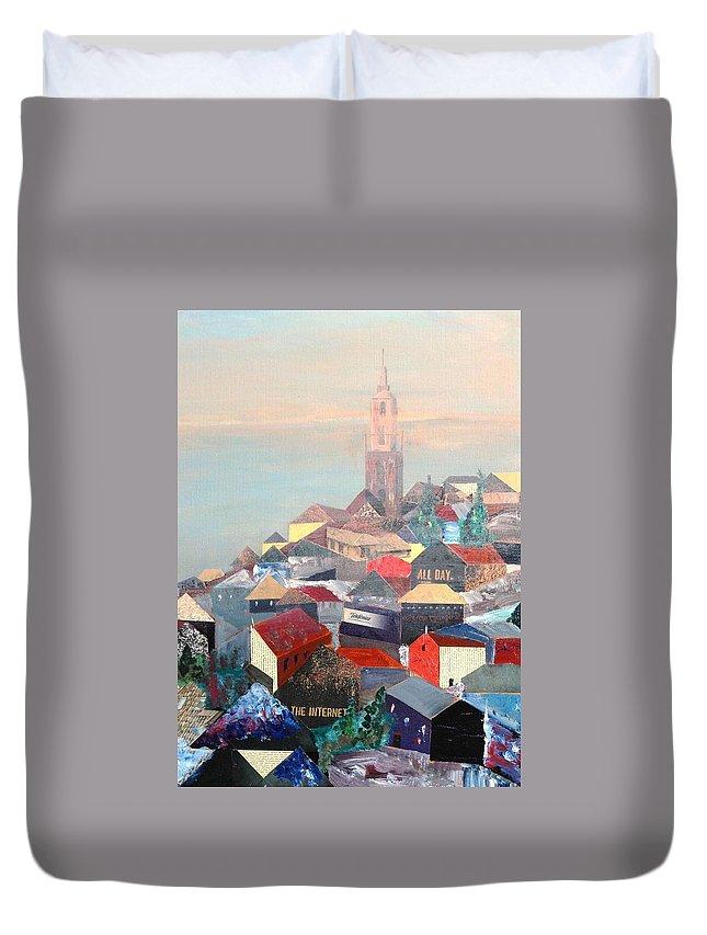Croatia Duvet Cover featuring the painting Croatia Coast by Roger Davey