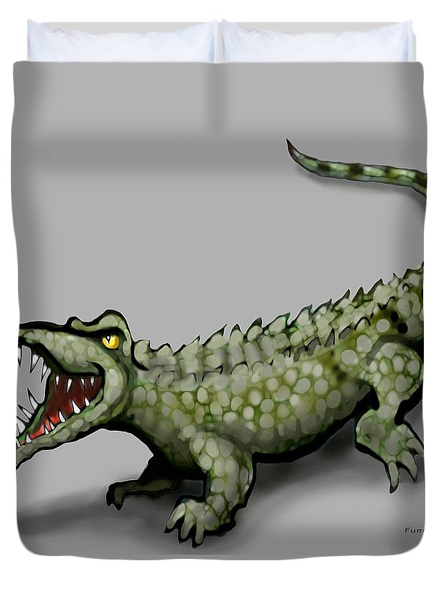 Crocodile Duvet Cover featuring the greeting card Crocodile by Kevin Middleton