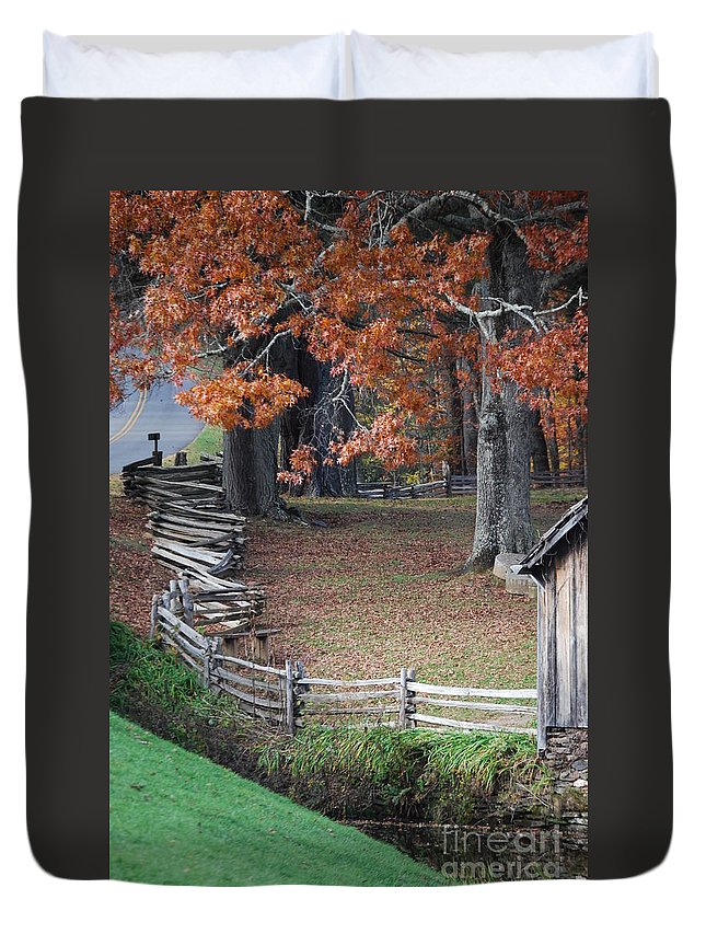Archecture Duvet Cover featuring the photograph Crooked Fence by Eric Liller