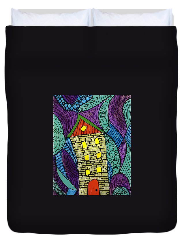 House Duvet Cover featuring the painting Crooked Yellow Brick House by Wayne Potrafka