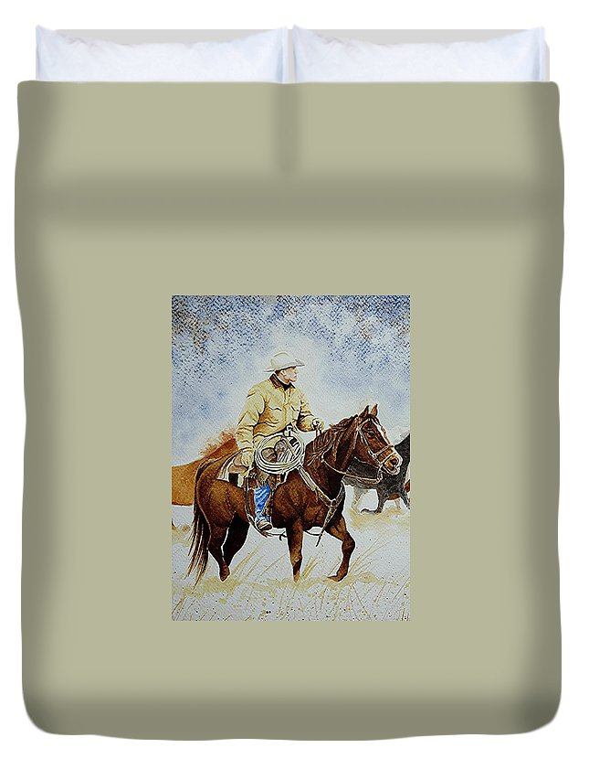 Art Duvet Cover featuring the painting Cropped Ranch Rider by Jimmy Smith