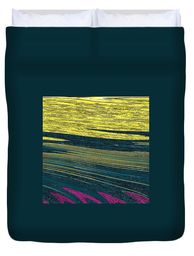 Abstract Duvet Cover featuring the digital art Crops by Lenore Senior