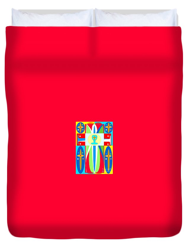 Cross Of Colors Duvet Cover featuring the digital art Cross Of Colors by Jon Fennel