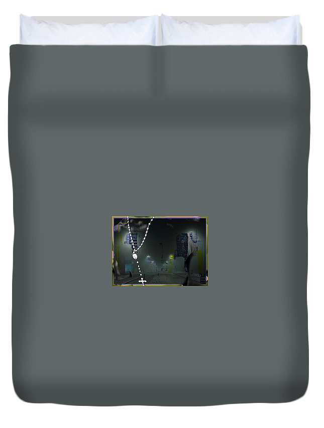 Cross Reference Unreliable Truth...tony Adamo Duvet Cover featuring the digital art cross reference unreliable truth...Tony Adamo by Tony Adamo