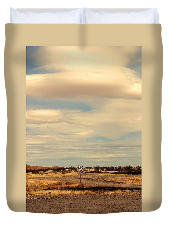 Cross Road Duvet Cover featuring the photograph Cross Road In New Mexico by Susanne Van Hulst