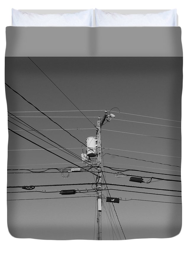 cross Talk Duvet Cover featuring the photograph Cross Talk by Bill Tomsa