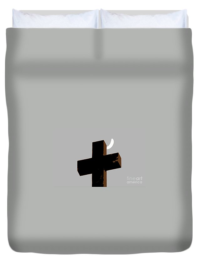 Cross Duvet Cover featuring the painting Cross The Moon by David Lee Thompson