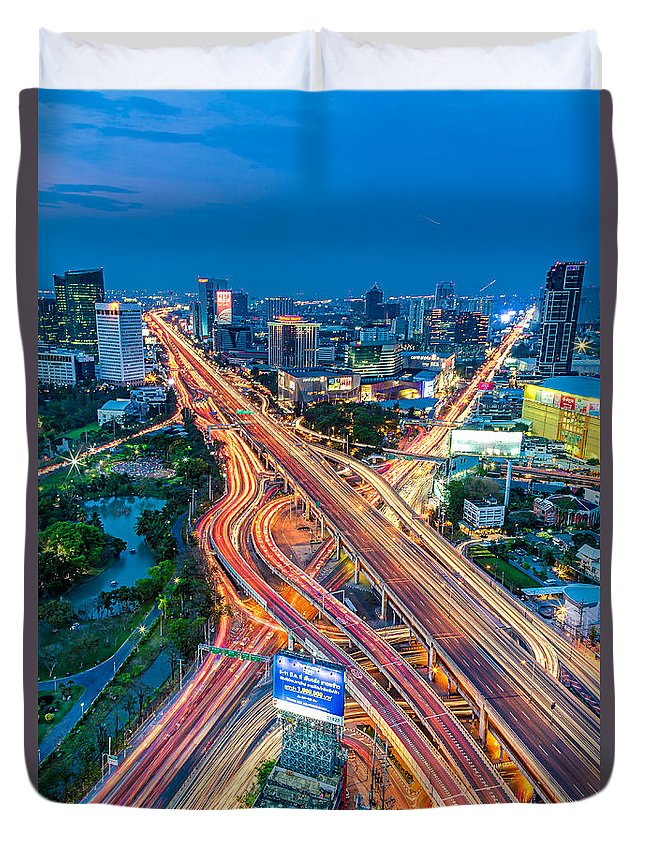 Traffic Duvet Cover featuring the photograph Cross Town Traffic by Marcus Burtenshaw