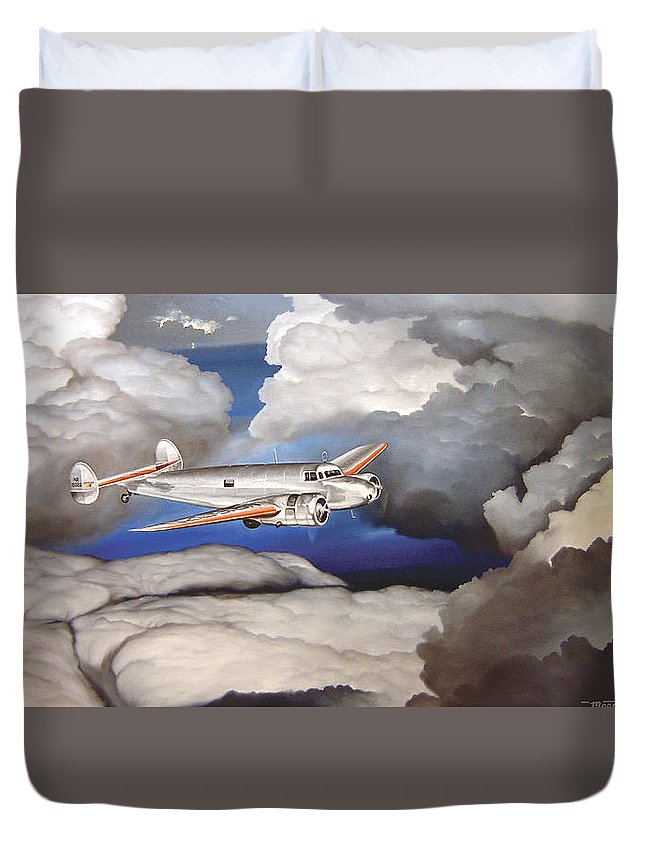 Aviation Duvet Cover featuring the painting Crossing Over Amelia Earharts Final Flight by Marc Stewart