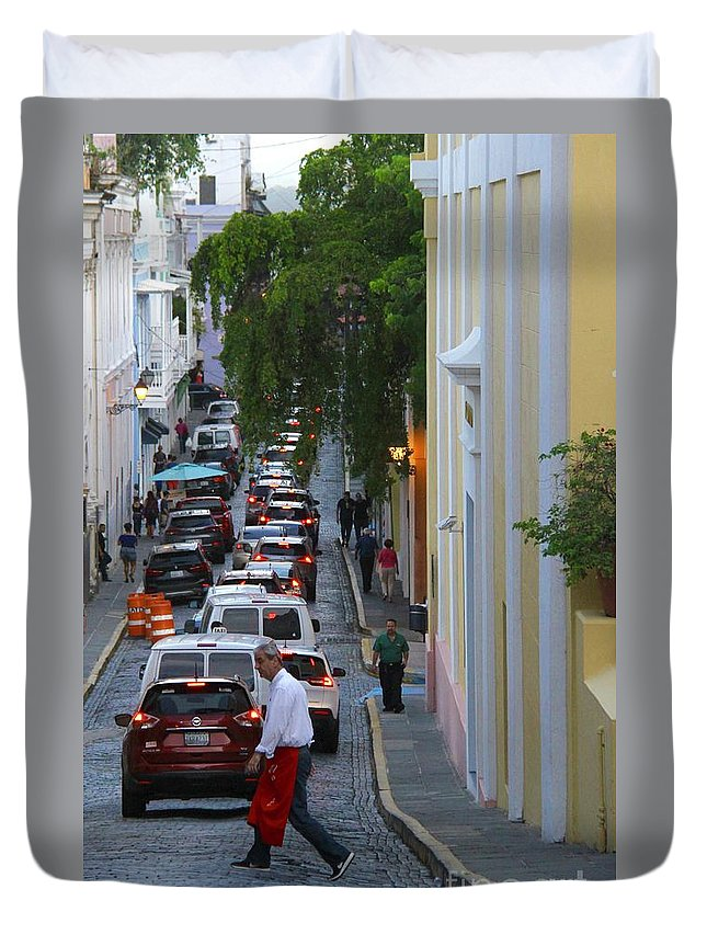 Old San Juan Duvet Cover featuring the photograph Crossing San Juan by Suzanne Oesterling