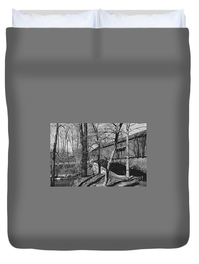 Covered Bridge Duvet Cover featuring the photograph Crossing The Creek by Jean Miller