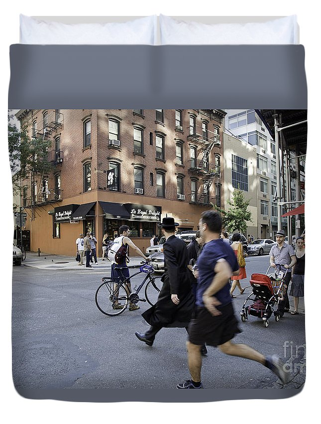 People Duvet Cover featuring the photograph Crossing The Street In Dumbo by Madeline Ellis