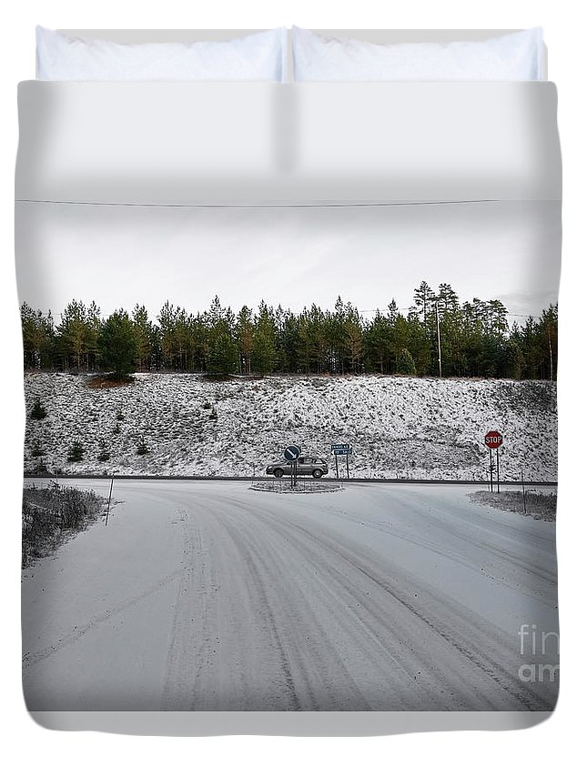 Roads Duvet Cover featuring the photograph Crossroads by Esko Lindell