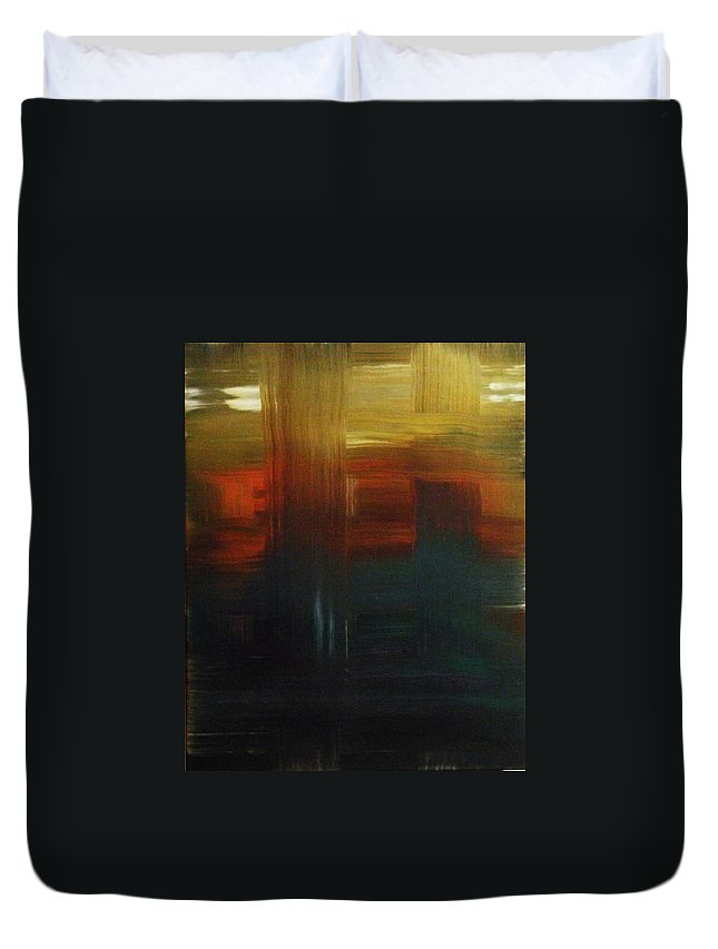 Abstract Duvet Cover featuring the painting Crossroads by Todd Hoover