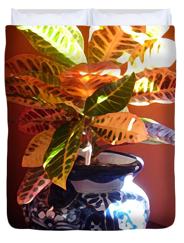 Potted Plant Duvet Cover featuring the photograph Croton In Talavera Pot by Amy Vangsgard