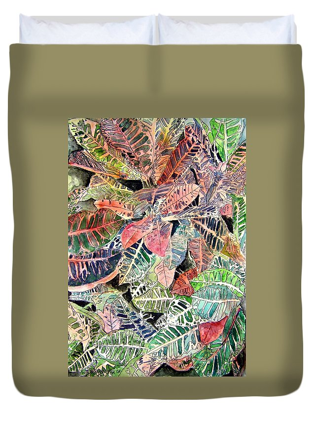 Croton Duvet Cover featuring the painting Croton Tropical Art Print by Derek Mccrea