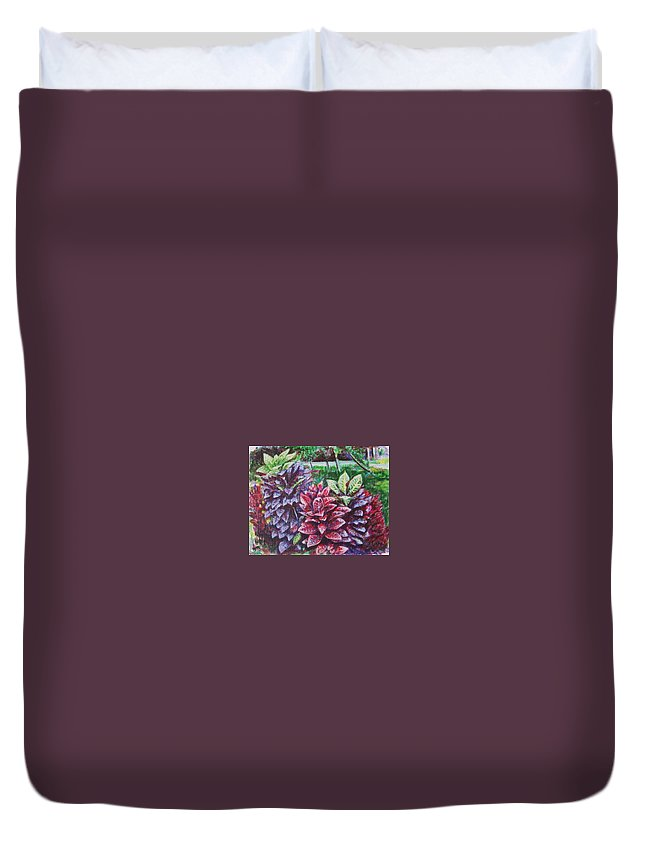Landscape Duvet Cover featuring the painting Crotons 1 by Usha Shantharam