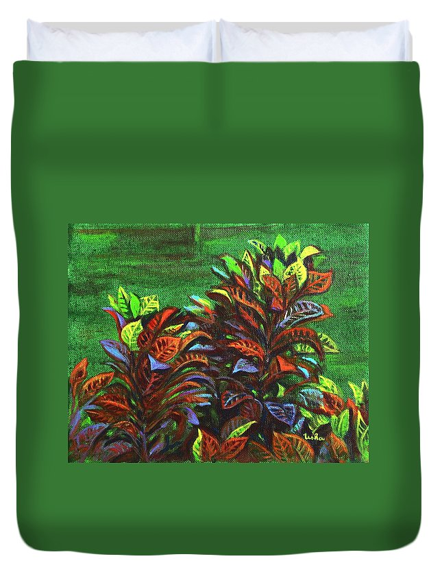 Duvet Cover featuring the painting Crotons 6 by Usha Shantharam