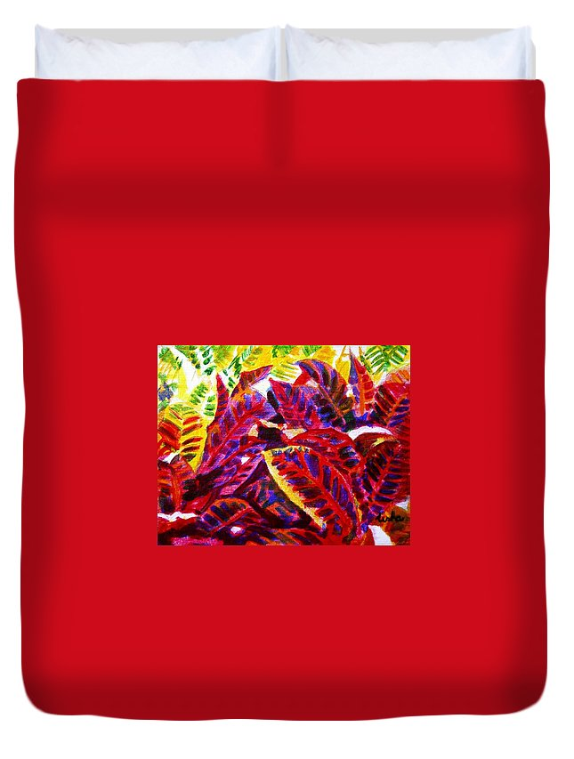 Nature Duvet Cover featuring the painting Crotons Sunlit 1 by Usha Shantharam