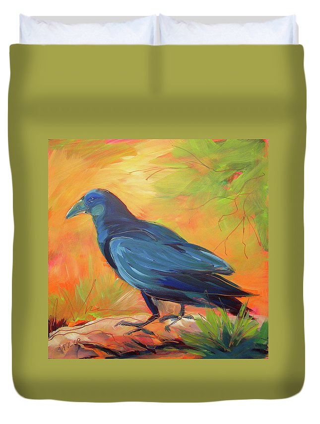Oil Painting Duvet Cover featuring the painting Crow In The Grass 7 by Pam Van Londen