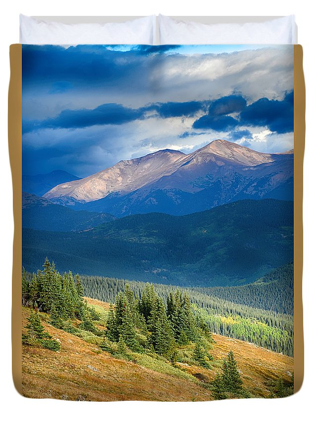 Mount Evans Duvet Cover featuring the photograph Crow On A Mountainside by Angelina Vick