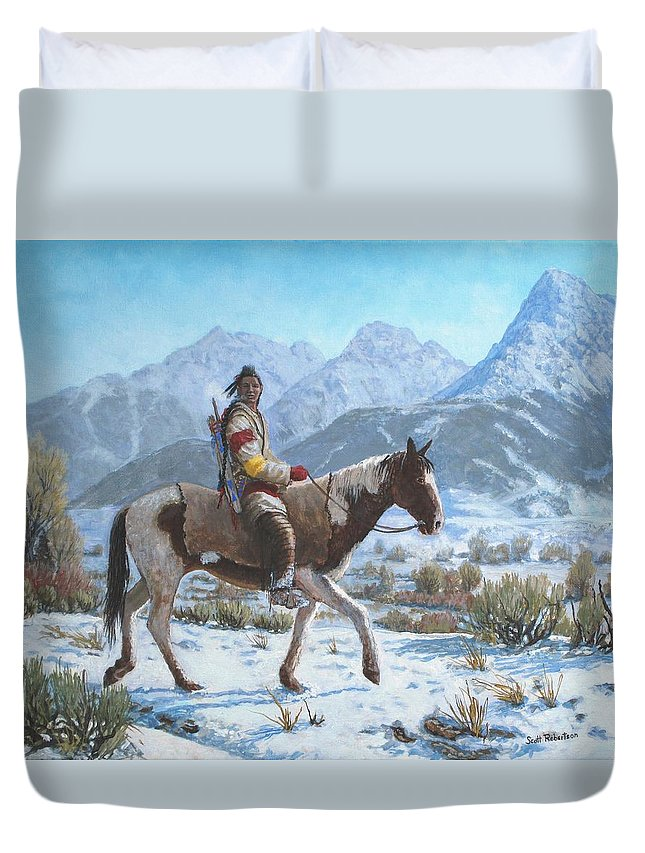 Crow Warrior Duvet Cover featuring the painting Crow on the Yellowstone river by Scott Robertson