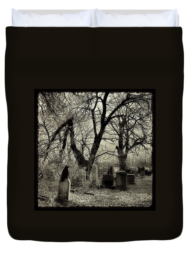 Crow Duvet Cover featuring the photograph Crow Waits On Tombstone by Gothicrow Images