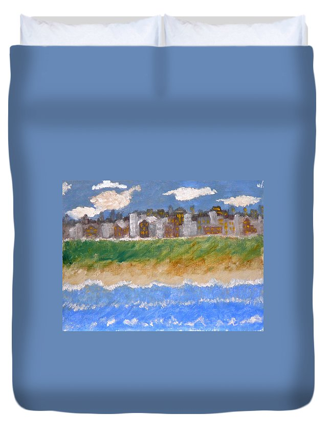 Seascape Duvet Cover featuring the painting Crowded Beaches by R B