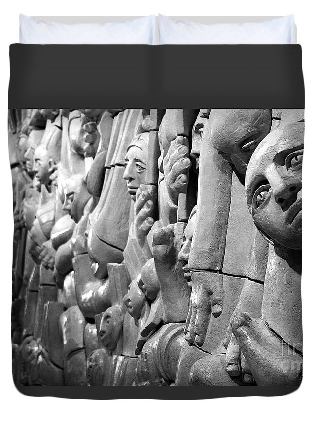 Black And White Duvet Cover featuring the photograph Crowded by Peter Jamieson
